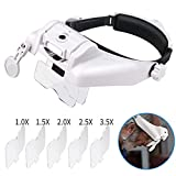 Headband Lighted Magnifying Glasses with Led Light, Lychee Head Mount Magnifier Glasses Visor Handsfree...