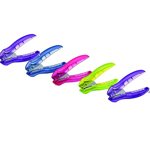 PaperPro inLIGHT Reduced Effort One-Hole Punch, Five Unit per Package, Assorted Colors, No Color Choice (2401)