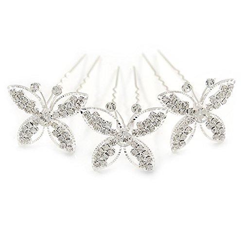 Bridal/matrimoni, feste e balli di gala, confezione da 3 pezzi, colore: placcato al rodio, con cristalli austriaci, 3 x Spille per capelli a forma di farfalla