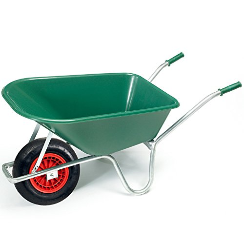 pro-bau-tec Gartenschubkarre 100 l mit grüner PP-Mulde mit pannenfreiem PU Rad