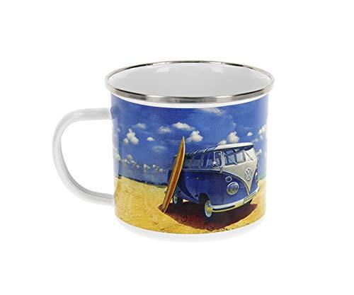 BRISA VW Collection - Volkswagen T1 Bulli Bus Emaille-Kaffee-Tee-Tasse-Becher für Küche, Outdoor - Camping-Zubehör/Geschenk-Idee/Souvenir (Motiv: Beach Life/emailliert)