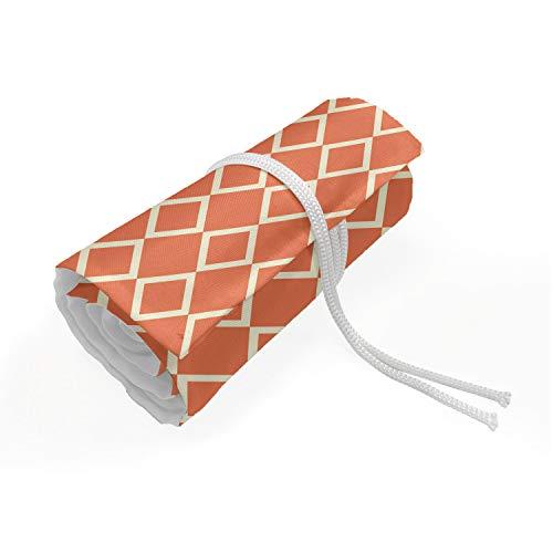 ABAKUHAUS Geometrisch Mäppchen Rollenhalter, Checkered Moderne Fliesen, langlebig und tragbar Segeltuch Stiftablage Organizer, 72 Schlaufen, Orange Weiss