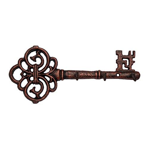 Comfify Sierlijke Wandmontage Sleutelhanger | Vintage Sleutel met 3 Haken | Wandmontage | Rustiek Gietijzer - Met Schroeven en Ankers - koper met zwart