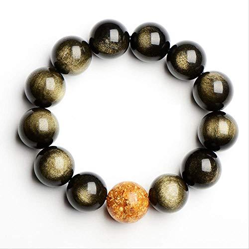 NoBrand Perles en Pierre d'obsidienne dorée Bracelets Bracelets Bijoux en Pierre pour Femmes ou Hommes Perle de 14 mm