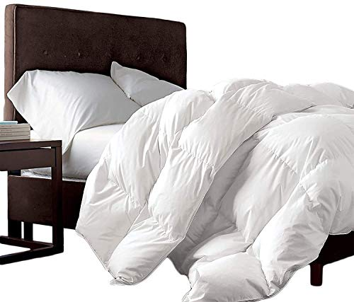 Grandeur Linens Luxurious 1200 Thread Count Siberian Goose Down Comforter, 100% Egyptian Cotton Cover, Damask Stripe White Color, Hypoallergenic, 50 Oz Fill Weight (Twin XL, White - Solid)