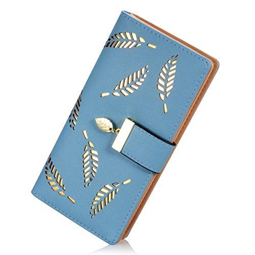 Billetera de Piel con Cierre de Hebilla y Cartera para Mujer -  Azul -  Talla única
