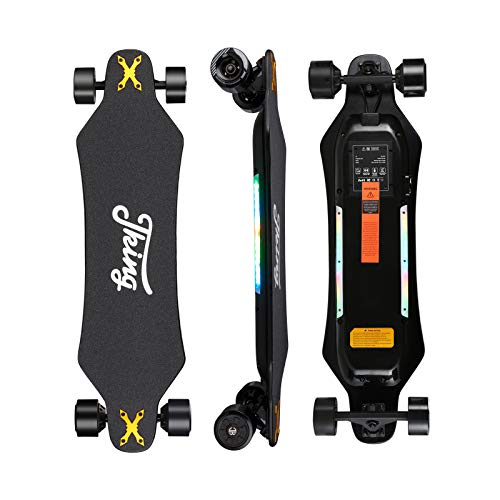 JKING Electric Skateboard Electric Longboard with Remote Control Electric Skateboard,900W Hub-Motor ,26 MPH Top Speed,21.8 Miles Range,3 Speed Adjustment,Max Load 330 Lbs
