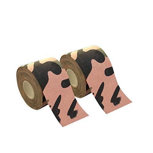 2巻入 テーピングテープ キネシオ テープ 筋肉・関節をサポート 伸縮性強い 汗に強い パフォーマンスを高める 5cm x 5m (カモフラージュ)