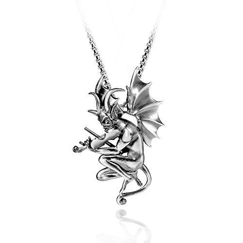 MATERIA Herren Kettenanhänger Teufel mit Geige 925 Silber antik massiv in Geschenk Box #KA-411