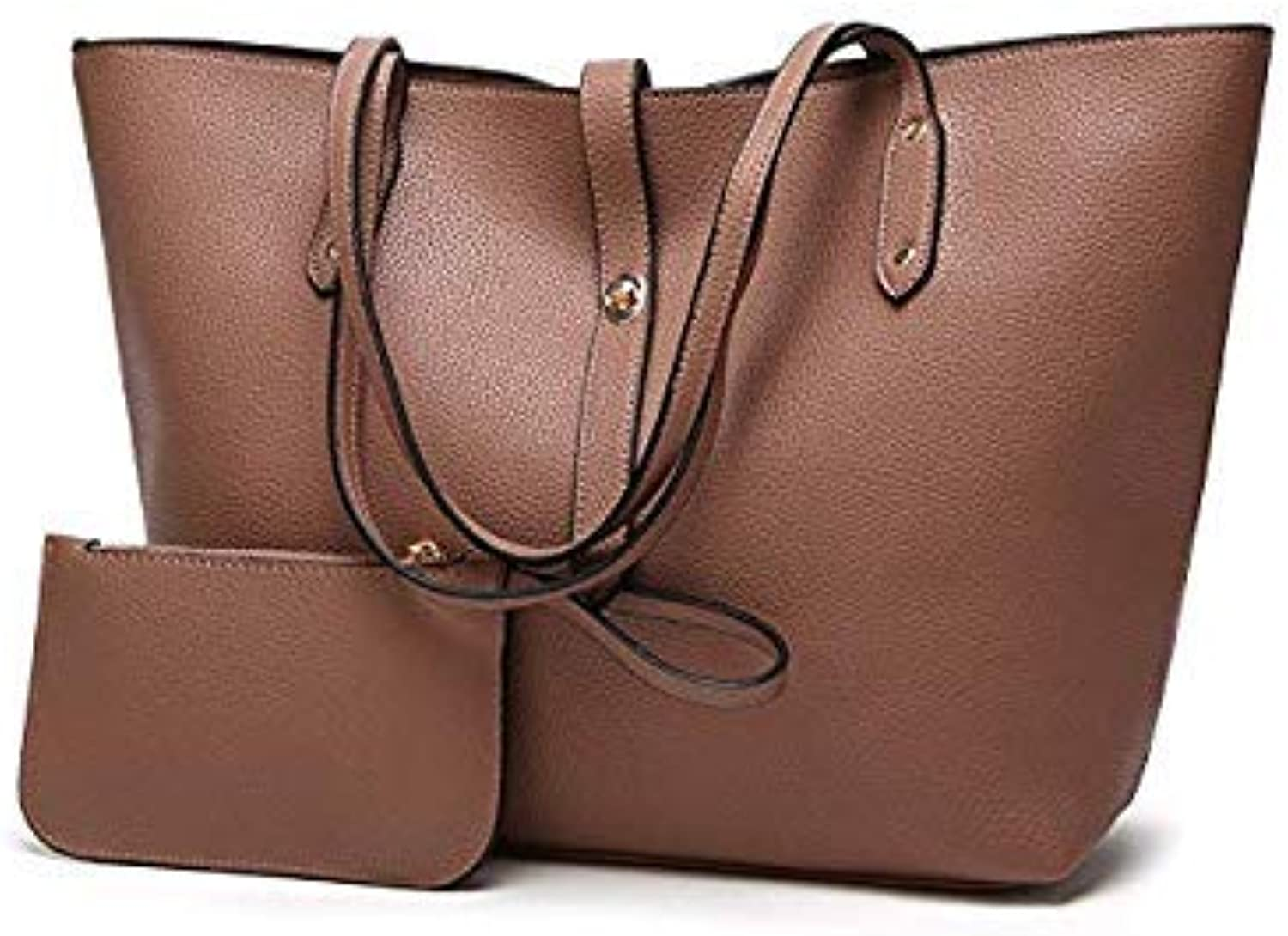 Bloomerang Herald Fashion Women Shoulder Bags Fashion PU Leather 2pcs Composite Bag Famous Brand Women Tote Bag Rivets Female Handbag Sets color Coffee 34x13x31cm