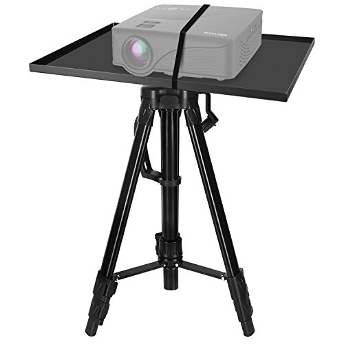 Abdtech Portable Projector Tripod Projector Stand, Adjustable Aluminum Laptop Stand, Multi Function Computer Stand 17 to 46 inch Height Flexible Tripod with Carrying Bag and Tray (Black)