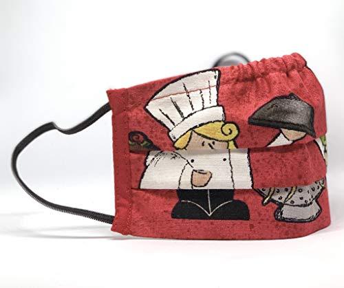 Mund und Nasenbedeckung waschbar rot Koch Motiv (für Erwachsene) 100% Baumwolle hergestellt in Deutschland mit Gummibänder