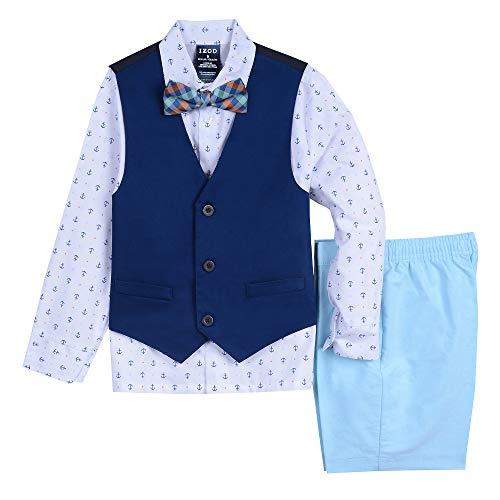 IZOD Boys' Toddler 4-Piece Set with Dress Shirt, Bow Tie, Shorts, and Vest, Blue Diamond, 3T