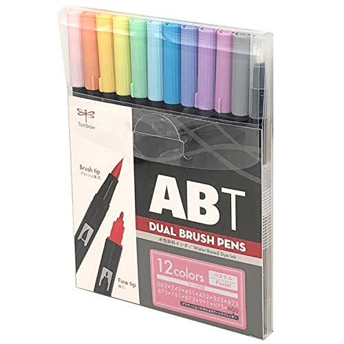 トンボ鉛筆筆ペンデュアルブラッシュペンABT12色セットパステルAB-T12CPA