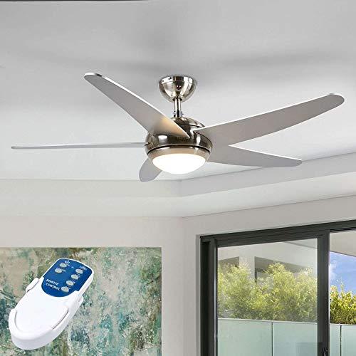 Lindby Deckenventilator mit LED Beleuchtung und Fernbedienung leise | 2-in-1: Ventilator & LED Lampe | 1x 20W, 1.100 Lumen, 3.100 K | Durchmesser: 132 cm | 3 Geschwindigkeitsstufen | Sommer- &