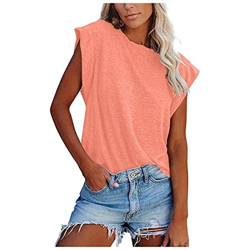 NBAA Frauen Sommer Tank Tops Ärmellos Rundhalsausschnitt Loose Schlank Tunika Shirts Frauen New Einfarbig Lockeres Gemütlich Damenoberteile Lässiger Westen T-Shirts