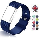 STAY Active Correas de Recambio para Fitbit Charge 2, Reloj Inteligente y Deportivo para Mujer y Hombre | Marca del Reino Unido - Diamante de Silicona (Azul Oscuro – Pequeña)