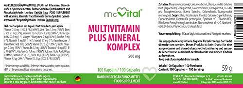 Multivitamin plus Mineral – Komplex – 500 mg – Rundum Gesundheit – 100 Kapseln - 2