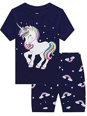 MIXIDON Niña Pijamas Unicornio Infantil Verano Ropa Chica Manga Corta(Unicornio2,8 Años)