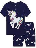 MIXIDON Filles cheval licorne Ensemble 2 Pièces Bien serré Coupe étroite Pyjama 100% Coton bleu taille 8