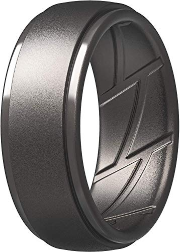 ThunderFit Silicone Wedding Ring for Men, Breathable with Air Flow Grooves - 10mm Wide - 2.5mm Thick (Gunmetal - Size 10.5-11(20.6mm))