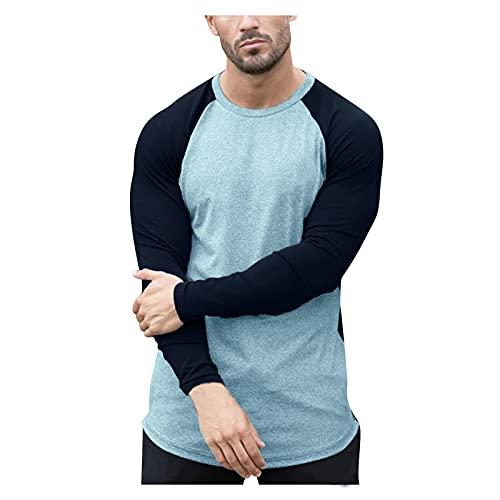T-Shirt a Manica Lunga Uomo T-Shirt Top Uomo Autunno Slim Casual O Collo Patchwork Camicetta Manica Lunga ( XL,1grigio )