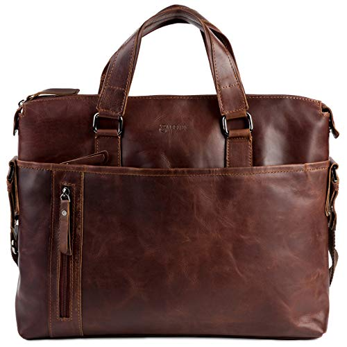 BACCINI Laptoptasche echt Leder mit 15 Zoll Laptop-Fach Leandro groß Businesstasche Umhängetasche Aktentasche Ledertasche braun
