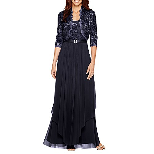 R&M Richards Womens Sequin Lace Long Jacket Dress - Mother of The Bride Dress (Navy, 18)