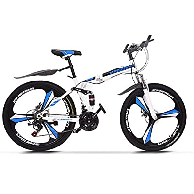 ACESPEE Foldable Full Suspension Mountain Bike 26 inch Folding Mountain Bicycle, Upgrade Shimanos 21 Speed Three-Knife Wheel Non-Slip Bicycle with Disc Brake,White