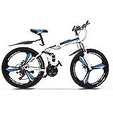 ACESPEE Foldable Full Suspension Mountain Bike 26 inch Folding Mountain Bicycle, Upgrade Shimanos 21 Speed Three-Knife Wheel Non-Slip Bicycle with Disc Brake,White