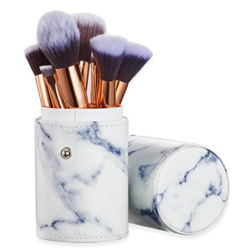 Ruesious Marble Makeup Brush Set with Brush Holder Pot | Premium Synthetic Foundation Powder Concealers Blending Eye Shadows Face Makeup Brush Sets10 Pcs