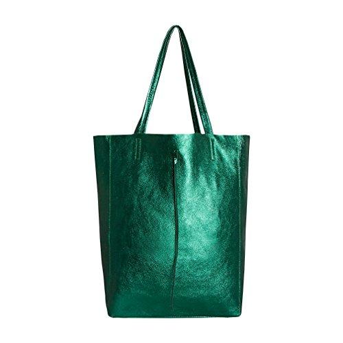 SKUTARI® Vittoria Brillante - Damen Shopper aus echtem Leder, glänzende Handtasche mit eingenähter Innentasche, handgefertigt in Italien, Fashion Tragetasche, Beuteltasche, 37 x 38 x 14 cm