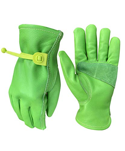 Leather Gardening Gloves for Women   Thorn and Cut Proof Garden Work Gloves Suitable For Thorny Bushes Cacti Rose Pruning Landscaping Work (Green, Small)