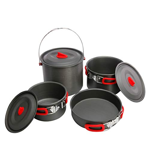 Vogvigo 4 Set van potten Nieuwe 5-6 Mensen Outdoor Picknick Sets van potten Base Hangende Pot Sets Koekenpan
