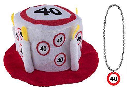 Karneval-Klamotten Geburtstagset 40 Jahre Verkehrsschild : Hut mit Halskette