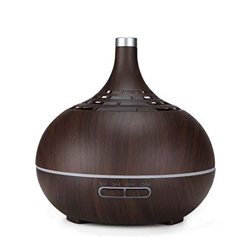 Gota de Agua Aromaterapia máquina 400ML de madera del grano Aroma humidificador ultrasónico de vapor frío difusor con luz de noche colorido, Deep grano de madera, humidificadores Vicks del Reino Unido
