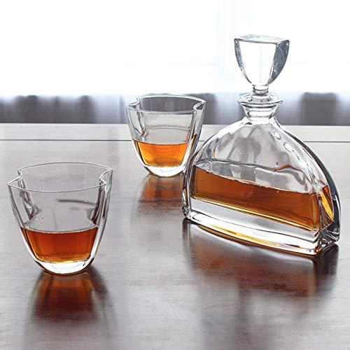 SHENGYUAN Jarra de Whisky Whisky o Botella de champán, Conjunto de decantador de Vidrio Premium, decantador de Whisky Set 6 Gafas de Licor, Whisky de Regalo para Hombre, Whisky, decantador de Licor