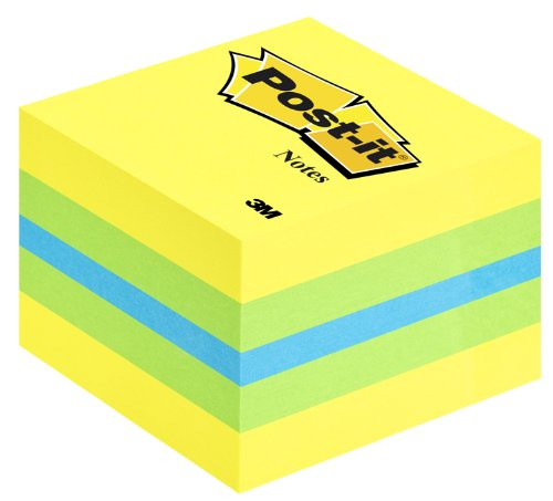 Post-it 2051-L Haftnotizwürfel Mini (51 x 51 mm) 400 Blatt zitronengelb limonengrün blau