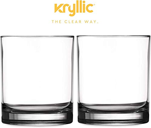 Plastic Tumbler Cups Drinking Glasses - Acrylic Reusable unbreakable and dishwasher safe Highball glasses! Set of 2 clear 14 oz Bpa Free Drinkware Kitchen cup glass for wine water juice soda beverage
