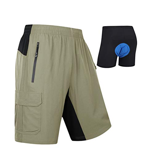 MOCOLY Mens Mountain Bike Shorts 3D Padded Lightweight Quick Dry MTB Cycling Shorts Riding Bicycle Shorts with Padding Green S
