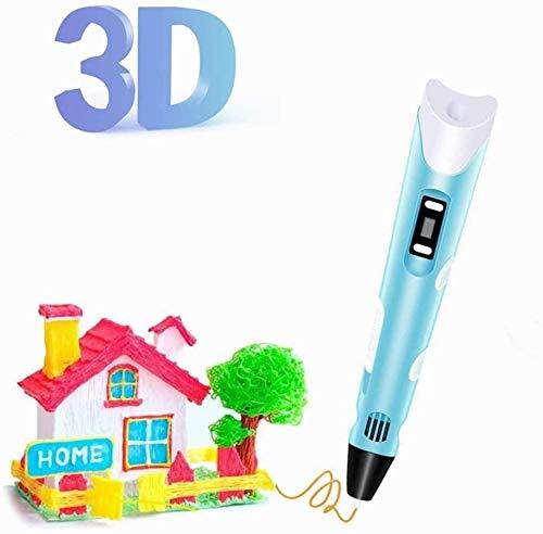 Penna 3D, penna per stampa 3D, con controllo della temperatura, penna 3D Doodler Pen Printer con display a LED, ideale per bambini e studenti di educazione (blu)