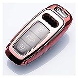 GaoHR - Funda protectora para llave de Audi A3 2021 A6L A7 A8 Q8 E-tron C8 D5 2019 2020 Car Key Cover Holder Skin HR (nombre del color: rosa, tamaño: especificaciones)