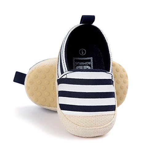 Bebe Bautizo Cuna Suela Blanda Zapatos Recien Nacido, Chickwin Primeros Pasos Raya Niño y Niña Antideslizante Zapatillas (12cm / 6-12meses, Azul Oscuro)