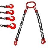 RANZIX Cadena para colgar de 1,5 m, 4 cuerdas, gancho para la cadena, fuerza de carga: 5 toneladas.