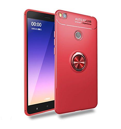 FanTings Capa para Xiaomi Mi Max 2, suporte de anel giratório ajustável de 360°, compatível com suporte magnético para carro, capa resistente a terremoto para Xiaomi Mi Max 2 – Vermelho