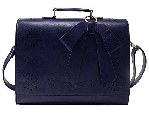 ECOSUSI Briefcase for Women Laptop Bag for School Briefcase Crossbody Messenger Bags Vegan Leather Satchel Purse Fit 14 Inches Laptop, Blue