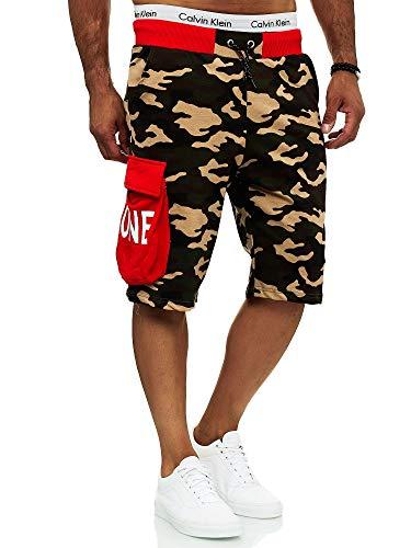 OneRedox Herren Shorts Kurze Hose Sweatshorts Camouflage Jogger Streetwear Sporthose Fitness Clubwear Modell 12141 (XL, Rot)