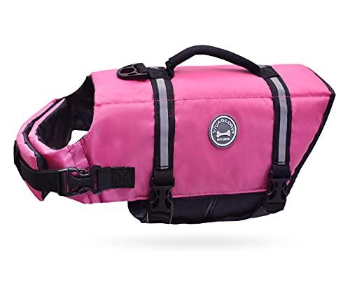 Vivaglory Ripstop Dog Life Jacket, Reflective & Adjustable Preserver Vest with Enhanced Buoyancy & Rescue Handle, Pink, M