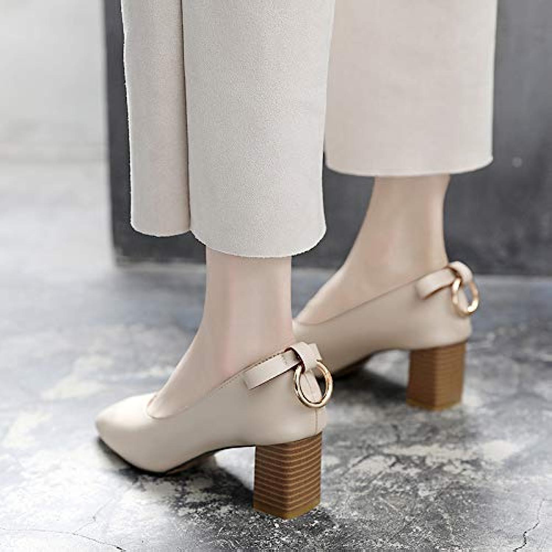 Yukun Schuhe mit hohen hohen hohen Absätzen Oma Schuhe Weiblichen Dick Mit Spring Fashion Retro Quadratischen Kopf Einzelne Schuhe Bogen Metallschnalle High Heels Frauen  bda5b0