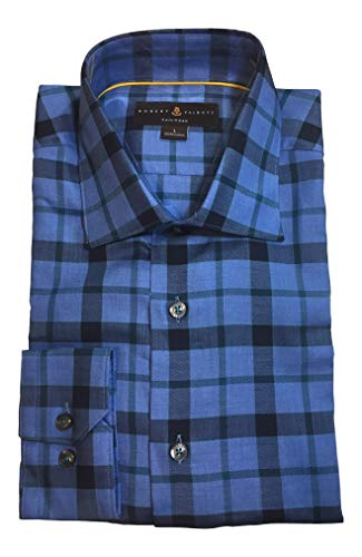 Robert Talbott Blue Plaid Dress Shirt Size L Tailored